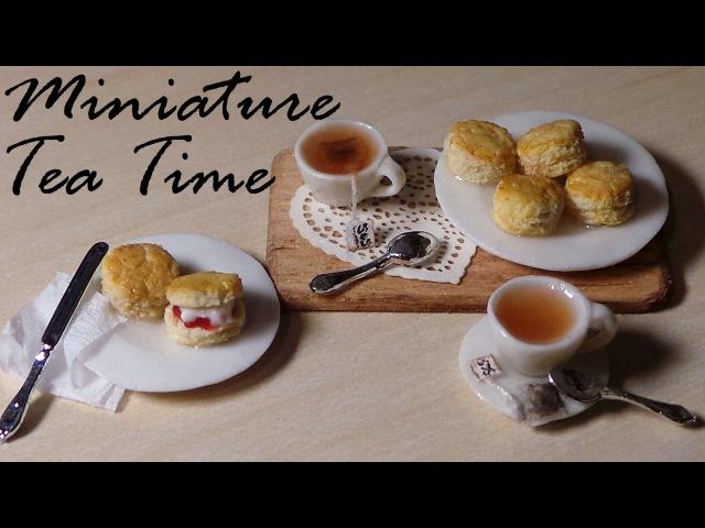 Tea Time; Miniature Tea, Tea bags Scones - Polymer Clay Tutorial