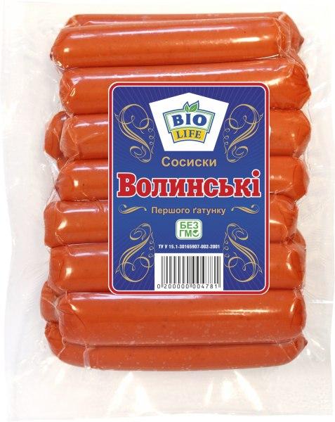 Сосиски «Волинські» вагові, Біо Лайф, 1 кг