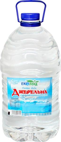 "Вода питна ""Джерельна"" негазована, Еколенд, 6л"
