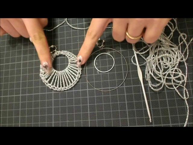 DIY tutorial orecchino a cerchio doppio uncinetto argento gioielli fai da te facile e semplice