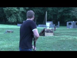 Стрельба из Советского ППШ 41 с секторным магазином.