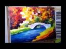 Leonid Afremov paint Little Bridge oil painting