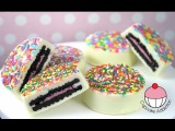 Choc Coated OREOS with Rainbow Sprinkles - By Cupcake Addiction