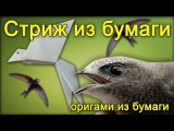 Птица стриж из бумаги - Оригами стриж