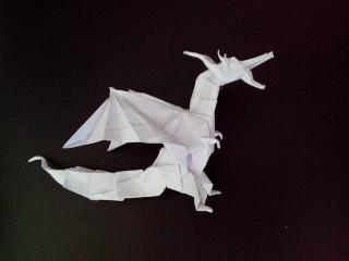 Стоячий дракон оригами, dragon origami (Kade Chan)