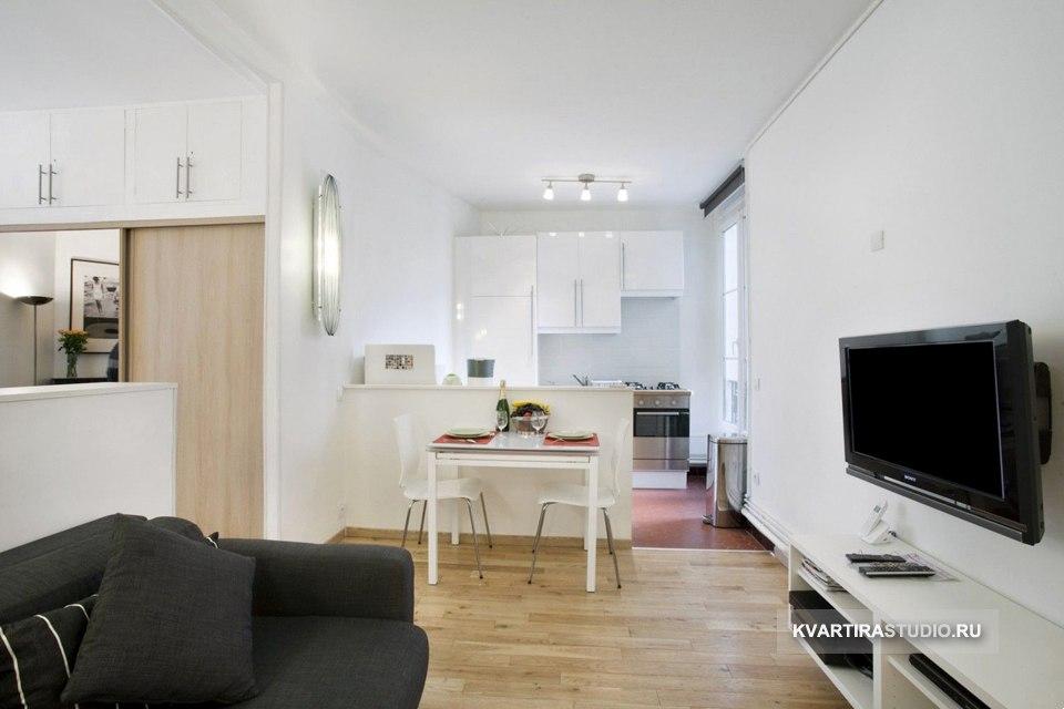 Разделение квартиры 35 м на зоны низкими перегородками - http://kvartirastudio.