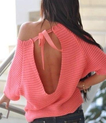 Пуловер с разрезом на спинке (6 фото) - картинка