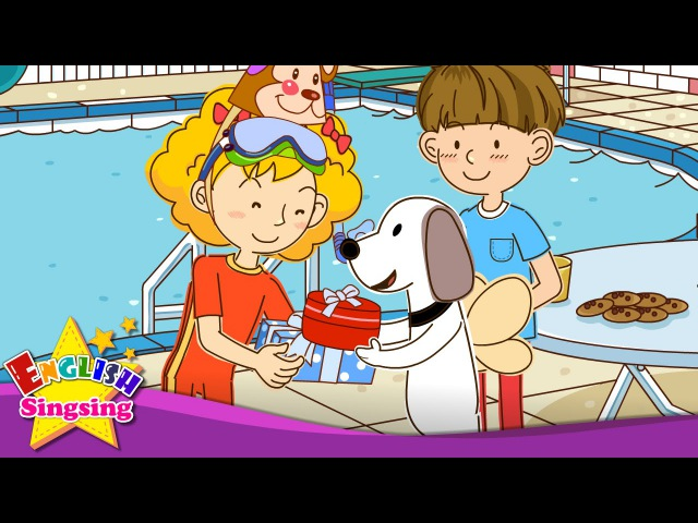 [Can] Happy birthday! Can you swim? - Easy Dialogue - English video for Kids.