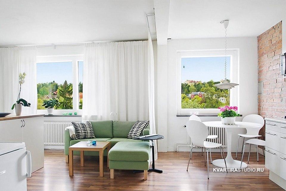 Кирпичная стена в интерьере квартиры 32 м в Вестеросе / Швеция - http://kvartirastudio.