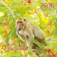 """Календарь на 2016 год """"символ года. любопытные обезьяны"""", настенный, Канц-Эксмо (Listoff, Unnika Land)"""