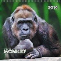 """Календарь настенный на 2016 год """"символ года. удивительные обезьяны"""", Канц-Эксмо (Listoff, Unnika Land)"""