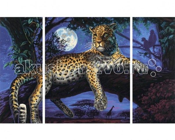 Картина по номерам триптих ягуар в ночи 50х80 см, Schipper