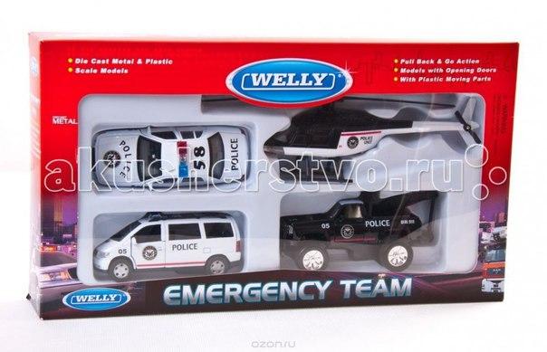 Игровой набор машин полиция 4 шт., Welly