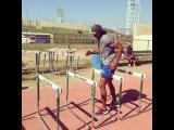 Asafa Powell hurdles training