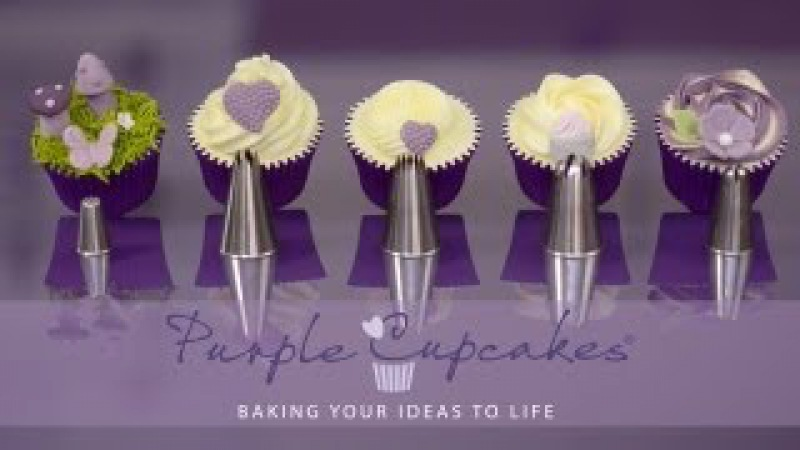 Baking buttercream and more Flat Top Cupcakes and Swirls using favourite nozzles Purple Cupcakes
