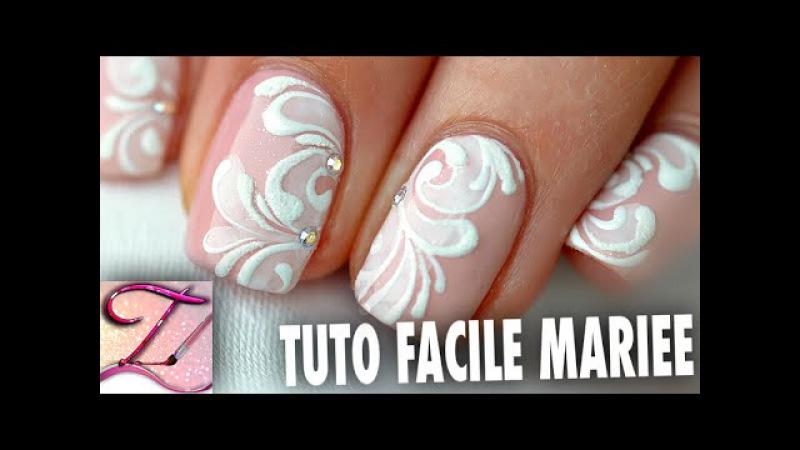 Tuto nail art Facile idée Mariage sur ongles courts en vernis ou en gel