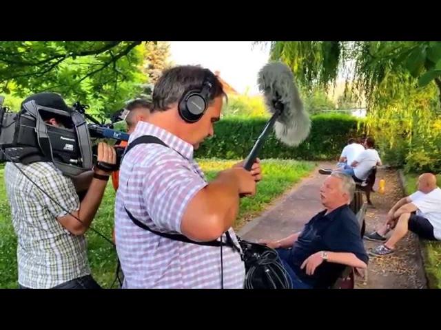 Interview eines Anwohners mit der ARD/hr (Lügenpresse) vor der Parkräumung. Freital,, 03.07.2015