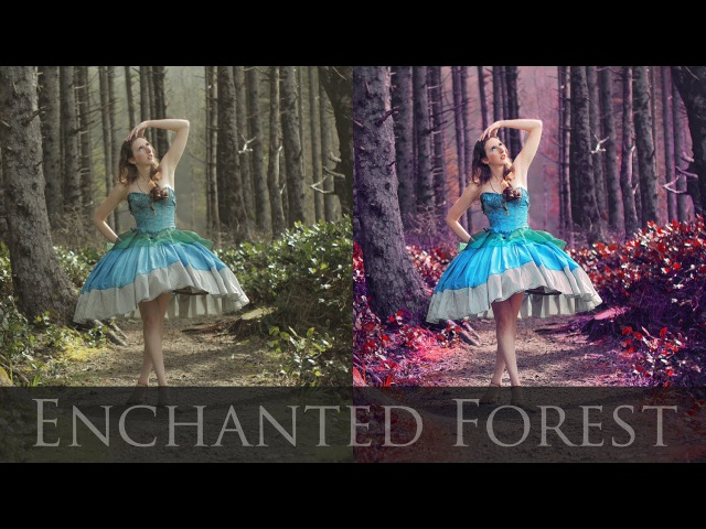 Adobe Photoshop Tutorials CS6 How to Magical Forest vibrant colors contrast fairytale retouching\\;opk