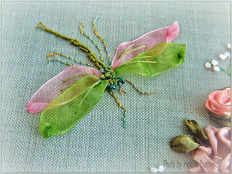 Бабочки вышивка шелковыми лентами