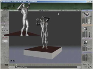 3D Virtual Software for Life Figure Drawing Male Model