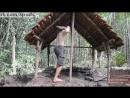 Выживание в лесу - мужик в лесу построил хижину с черепицей  Building a tiled roof hut with underfloor heating, mud, stone wall