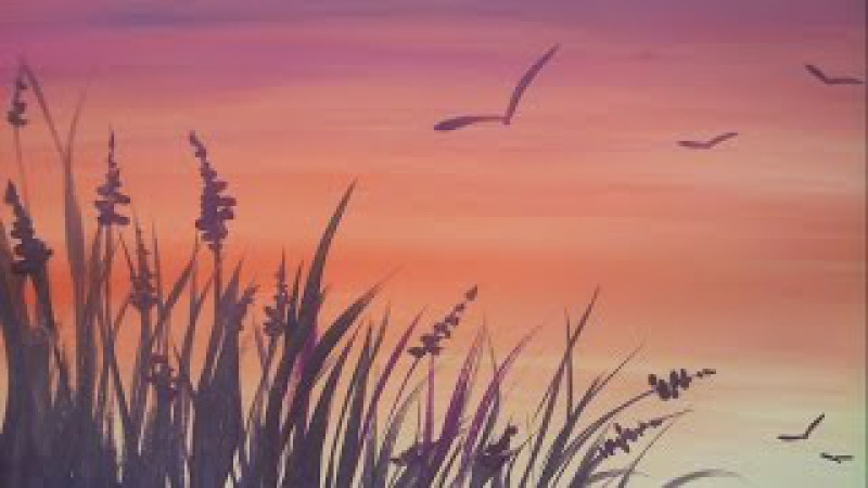 Закат и травка Картина за 3 минуты