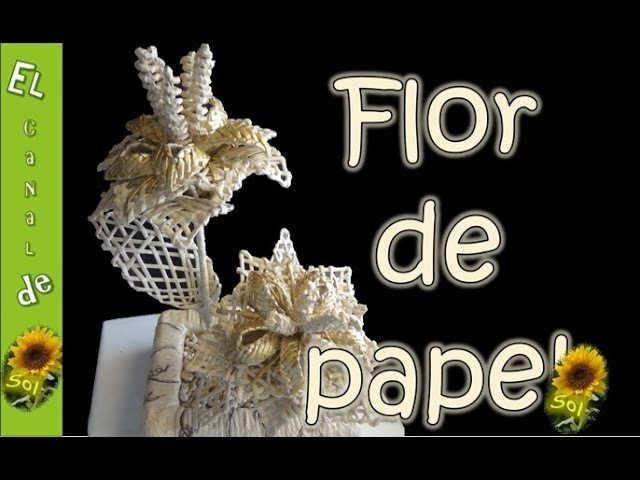 Flor en cestería con papel periodico - Flower in basketry with newsprint