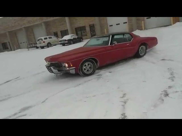 1972 Buick Riviera Boattail Boat Tail fun! Drifting in the snow doing donuts