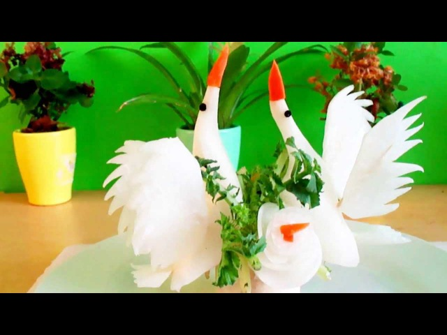 Art In White Radish Vegetable Carving a Birds or Swans Garnish | Italypaul.co.uk