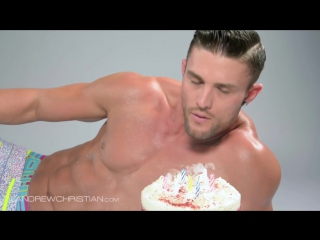 Half Naked Hunky Guy with Birthday Cake