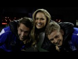 Ronda Rousey meets the North Melbourne players (Channel 7)