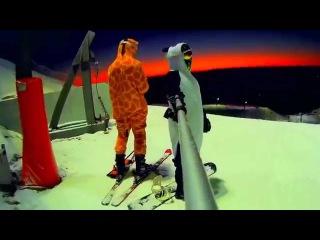 СИЛИЧИ 2015 ЖИРАФ и ПАНДА первый раз увидели снег) лыжи сноуборд