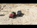 UAZ and JEEP Slow motion. Water. Sand. Mud.
