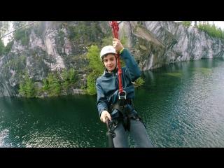 Полет Темирлана над мраморным озером и горными скалами Рускеалы