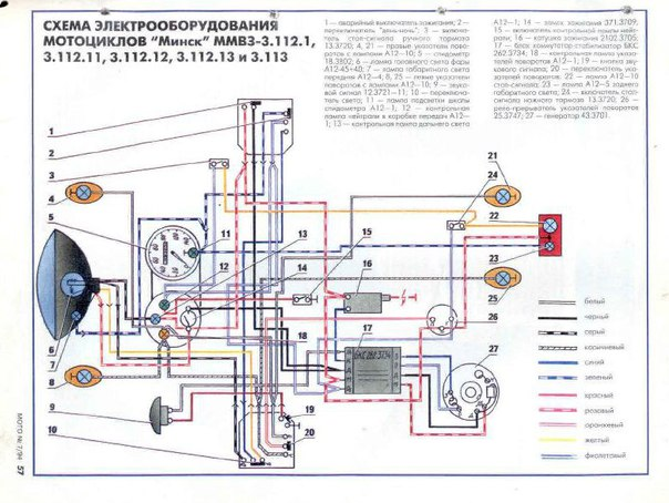 Схема электропроводки мотоцикл