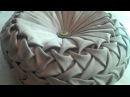 Canadian smocking capitone round cushion by Debbie Shore Matrix design