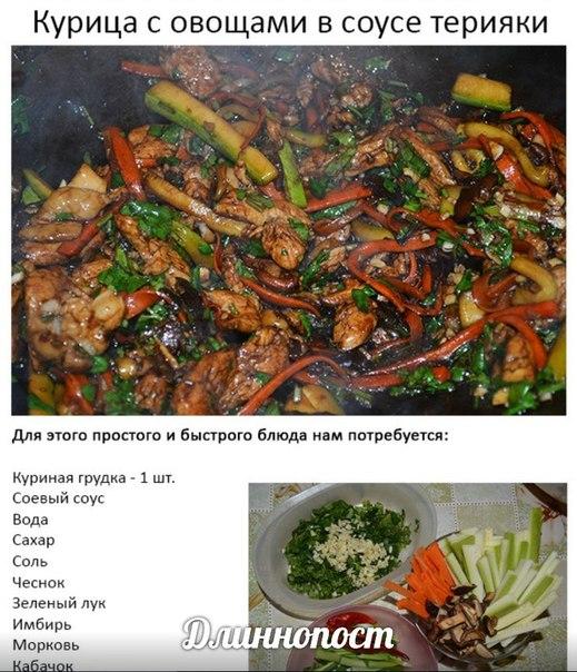 Курица терияки с овощами рецепт с фото