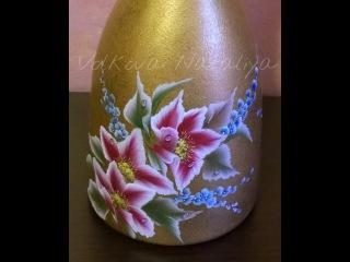 Come dipingere sul vetro con colori acrilici. Bottiglia dipinta. Idea regalo di Natale