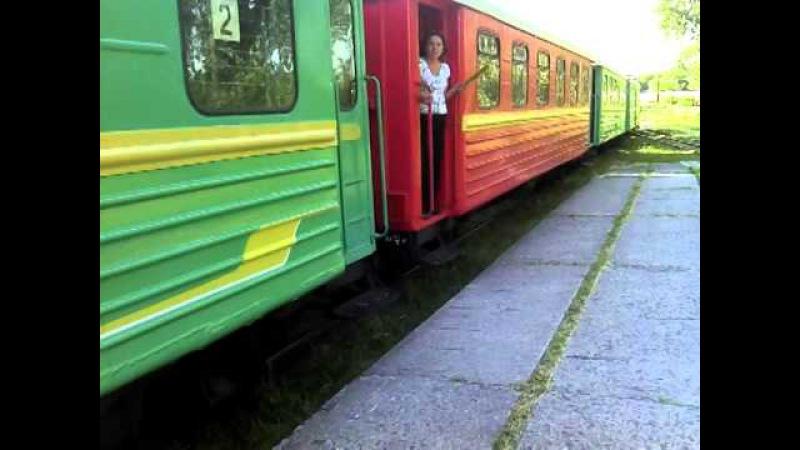 Подача пассажирского поезда Алапаевской узкоколейной железной дороги к платфо ...