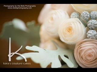 Мастер класс от Кары Крейн - как сделать букет цветов из вафельной бумаги для украшения торта