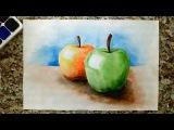 Как нарисовать яблоки - уроки рисования акварелью для малышей от Варвары Зуевой