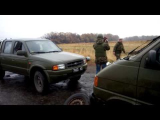 В полукилометре от Крымского. Попали колесом в воронку от снаряда