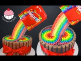 Skittles Rainbow Cake! How to make a Skittles Cake - Cupcake Addiction &amp Cupcakes &amp Cardio!