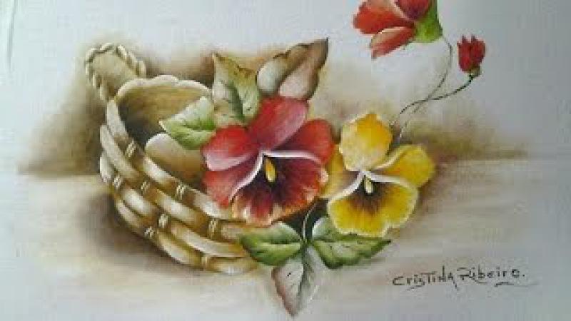 Como pintar cesto de amor perfeito com folhas envelhecidas. Primeira parte: pintando o cesto.