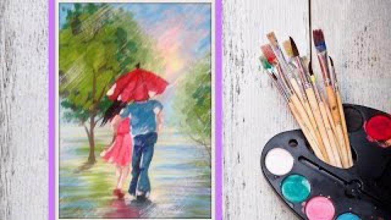 Уроки рисования! Как нарисовать парочку под зонтом гуашью! Dari Art