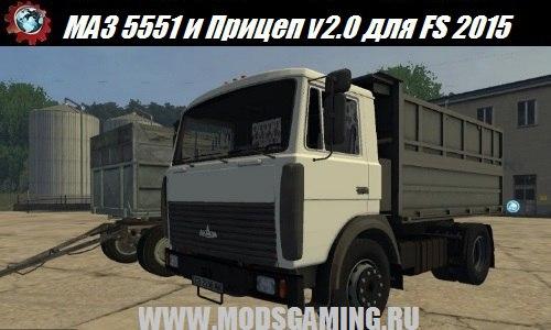 Farming Simulator 2015 download the mod and Trailer MAZ 5551 v2.0