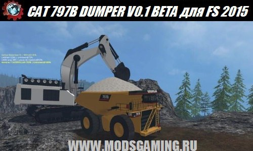 Farming Simulator 2015 download mod truck CAT 797B DUMPER V0.1 BETA