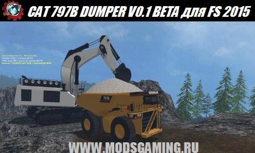 Farming Simulator 2015 download mod truck CAT 797B DUMPER V0.1 BETA