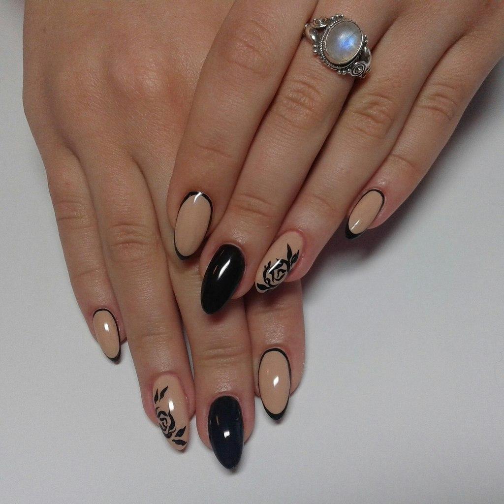 Дизайн ногтей к черному платью фото