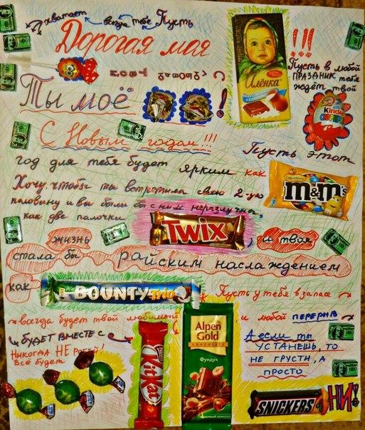 Поздравление на плакате со сладостями